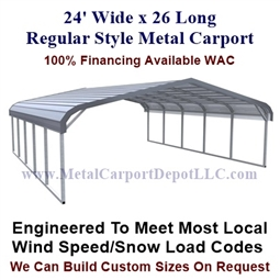 Regular Style Metal Carport 24' x 26' x 5'