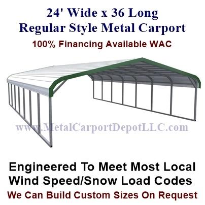 24\' x 36\' Regular Style Metal Carport. @2,845.00 - Free Installation!