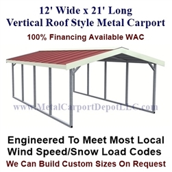 Vertical Roof Style Metal Carport 12' x 21' x 6'