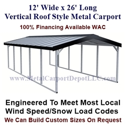 Vertical Roof Style Metal Carport 12' x 26' x 6'