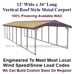 Boxed Eave Style Metal Carport 12' x 36' x 6'
