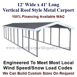 Boxed Eave Style Metal Carport 12' x 41' x6'