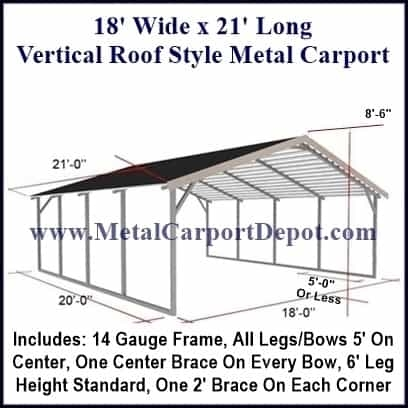 18\' x 21\' Vertical Roof Style Carport $1,620.00, Free Installation!