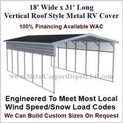 18' x 31' Vertical Roof Style Metal RV Cover