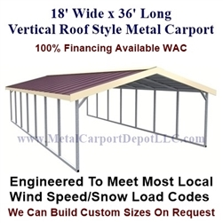 Boxed Eave Style Metal Carport 18' x 36' x 6'