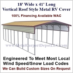 18' x 41' Vertical Roof Style Metal RV Cover