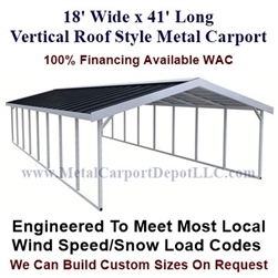 Boxed Eave Style Metal Carport 18' x 41' x6'