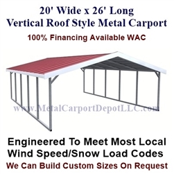 Boxed Eave Style Metal Carport 20' x 26' x 6'