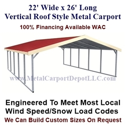 Boxed Eave Style Metal Carport 22' x 26' x 6'