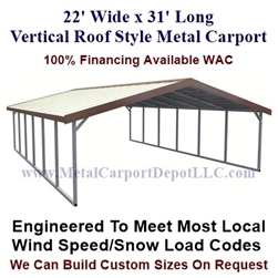 Boxed Eave Style Metal Carport 22' x 31' x 6'