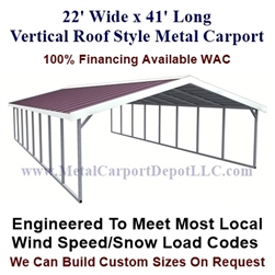 Boxed Eave Style Metal Carport 22' x 41' x6'