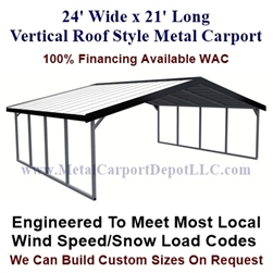 Boxed Eave Style Metal Carport 24' x 21' x 6'