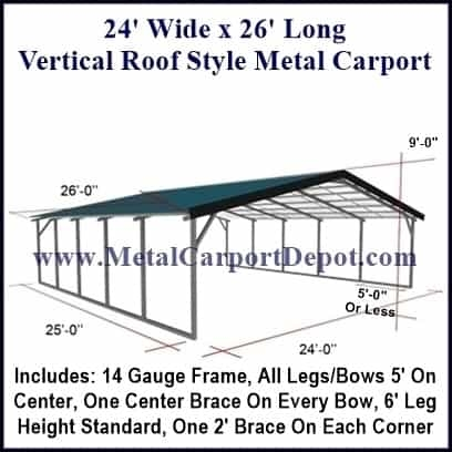24\' x 26\' Vertical Roof Style Carport $2,845.00, Free Installation!