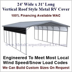 24' x 31' Vertical Roof Style Metal RV Cover