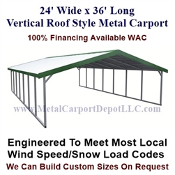 Boxed Eave Style Metal Carport 24' x 36' x 6'