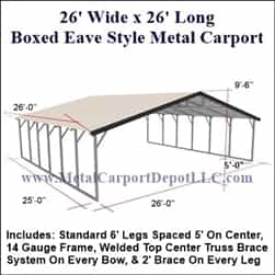 Triple Wide Boxed Eave Style Metal Carport 26' x 26' x 6'