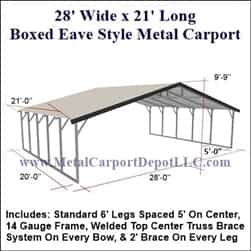 Triple Wide Boxed Eave Style Metal Carport 28' x 21' x 6'