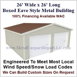 26'x26'x10' Boxed Eave Metal Building