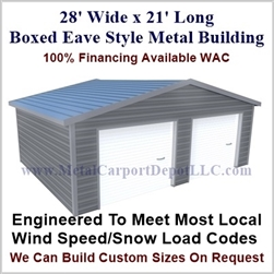 28'x21'x10' Boxed Eave Metal Building