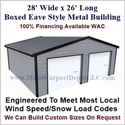 28'x26'x10' Boxed Eave Metal Building