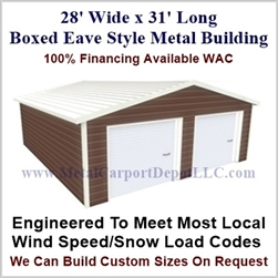 28'x31'x10' Boxed Eave Metal Building