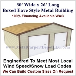 30'x26'x10' Boxed Eave Metal Building
