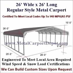 Triple Wide Regular Style Metal Carport 26' x 26' x 6'