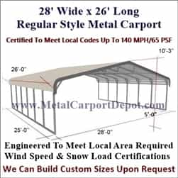 Triple Wide Regular Style Metal Carport 28' x 26' x 6'