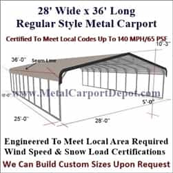 Triple Wide Regular Style Metal Carport 28' x 36' x 6'