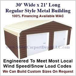 30'x21'x9' Regular Style Metal Building