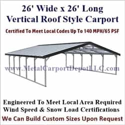 Vertical Roof Style Triple Wide Carports Shop Amp Purchase