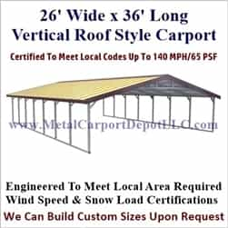 Triple Wide Boxed Eave Style Metal Carport 26' x 36' x 6'