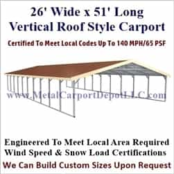 Triple Wide Boxed Eave Style Metal Carport 26' x 51' x 6'