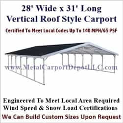 Triple Wide Boxed Eave Style Metal Carport 28' x 31' x 6'