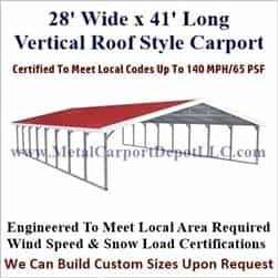 Triple Wide Boxed Eave Style Metal Carport 28' x 41' x 6'