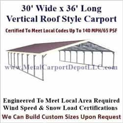 Triple Wide Boxed Eave Style Metal Carport 30' x 36' x 6'