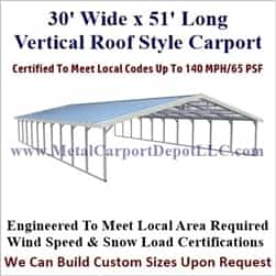 Triple Wide Boxed Eave Style Metal Carport 30' x 51' x 6'