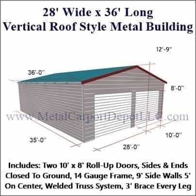 28\' x 36\' Vertical Roof Style Metal Building. Free Installation!
