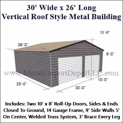 30\' x 26\' Vertical Roof Style Metal Building. Free Installation!