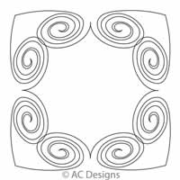 Digital Quilting Design Open Spiral Heart Chain by AC Designs.