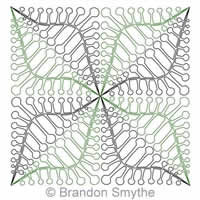 Digital Quilting Design Bubble Tip Fern Continuous Triangle by Brandon Smythe.