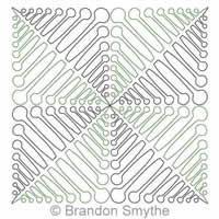 Digital Quilting Design Bubble Tip Fern Continuous Triangle 2 by Brandon Smythe.