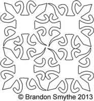 Digital Quilting Design Siamese Crocodile Block by Brandon Smythe.