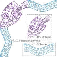 Digital Quilting Design Sugar Skull Snake Border Corner by Brandon Smythe.