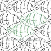 Digital Quilting Design Happy Fish by Crystal Smythe.