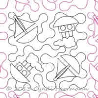 Digital Quilting Design Ahoy Boats by Cyndi Herrmann.