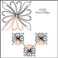 Digital Quilting Design Ribbon Bloom by Diana Phillips.