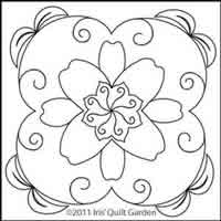 Digital Quilting Design Lilypad Block by Iris QuiltGarden.