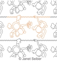 Digitized Longarm Quilting Design Monkeys Border or Panto was designed by Janet Seiber.