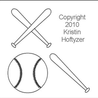 Digital Quilting Design Baseball by Kristin Hoftyzer.